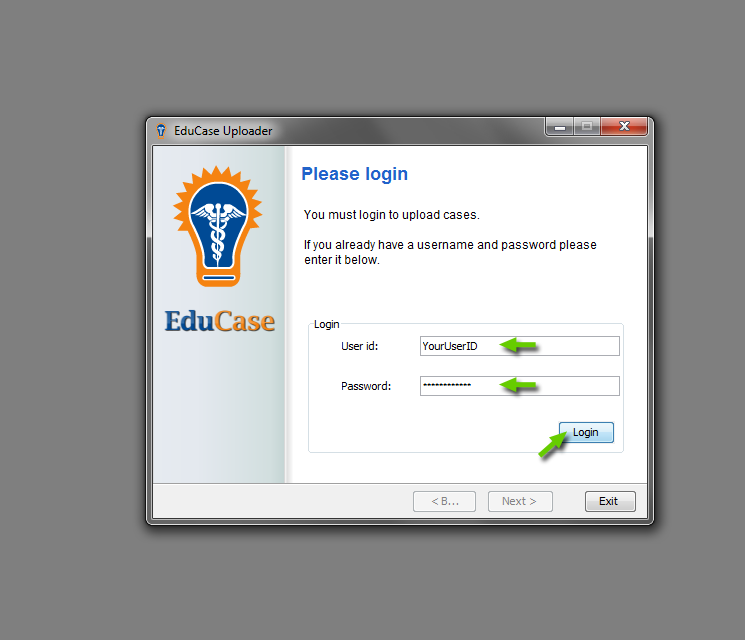 EduCase Features Uploader Tool Login