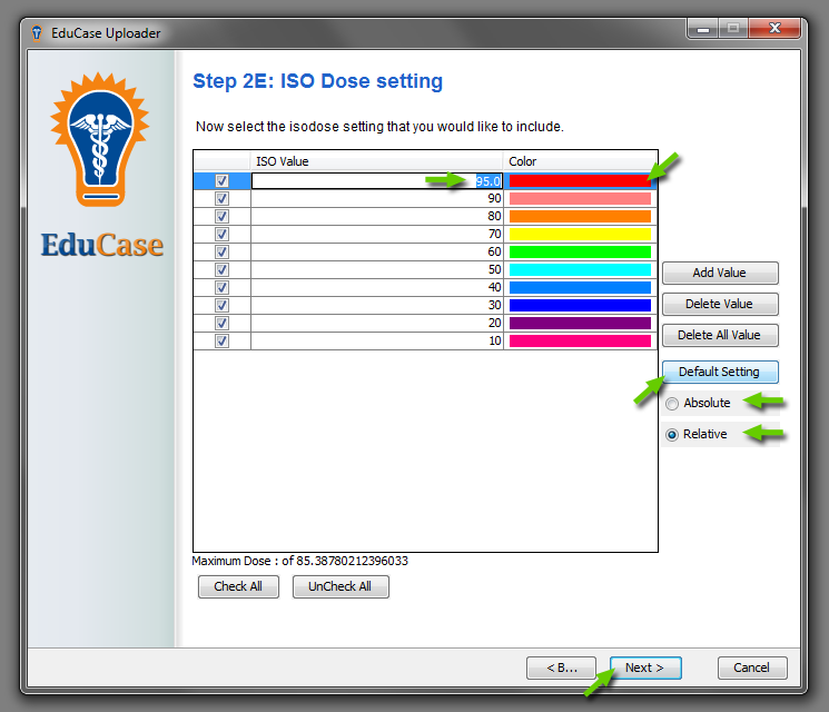 EduCase Features Uploader Tool Isodose Data